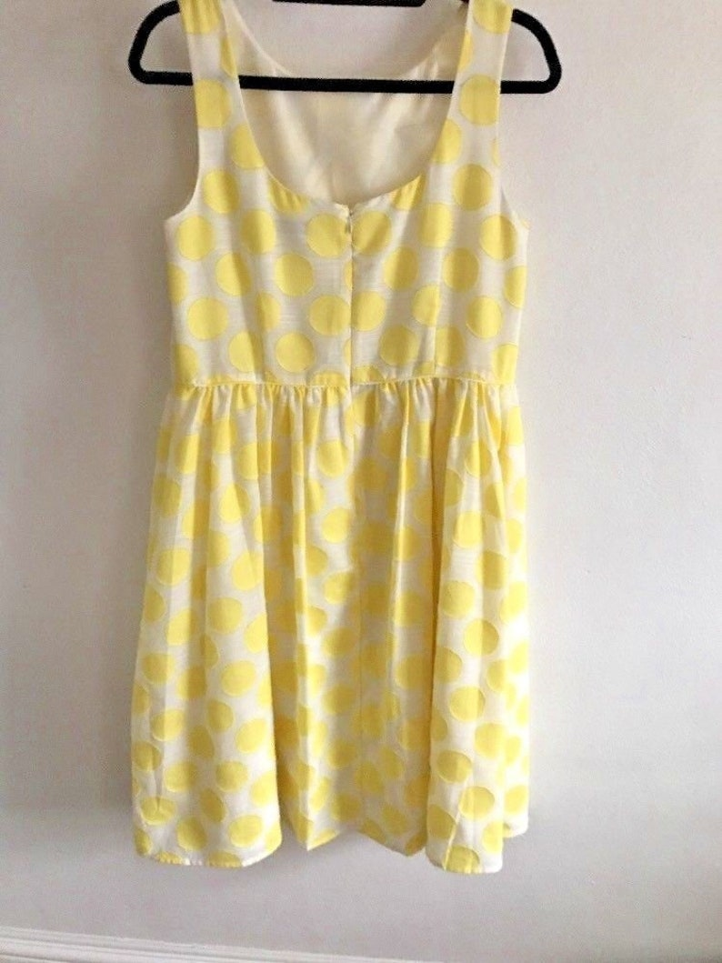 Dress Yellow Polka Dots Size 8 Lined Party Dress Summer Wedding A Line