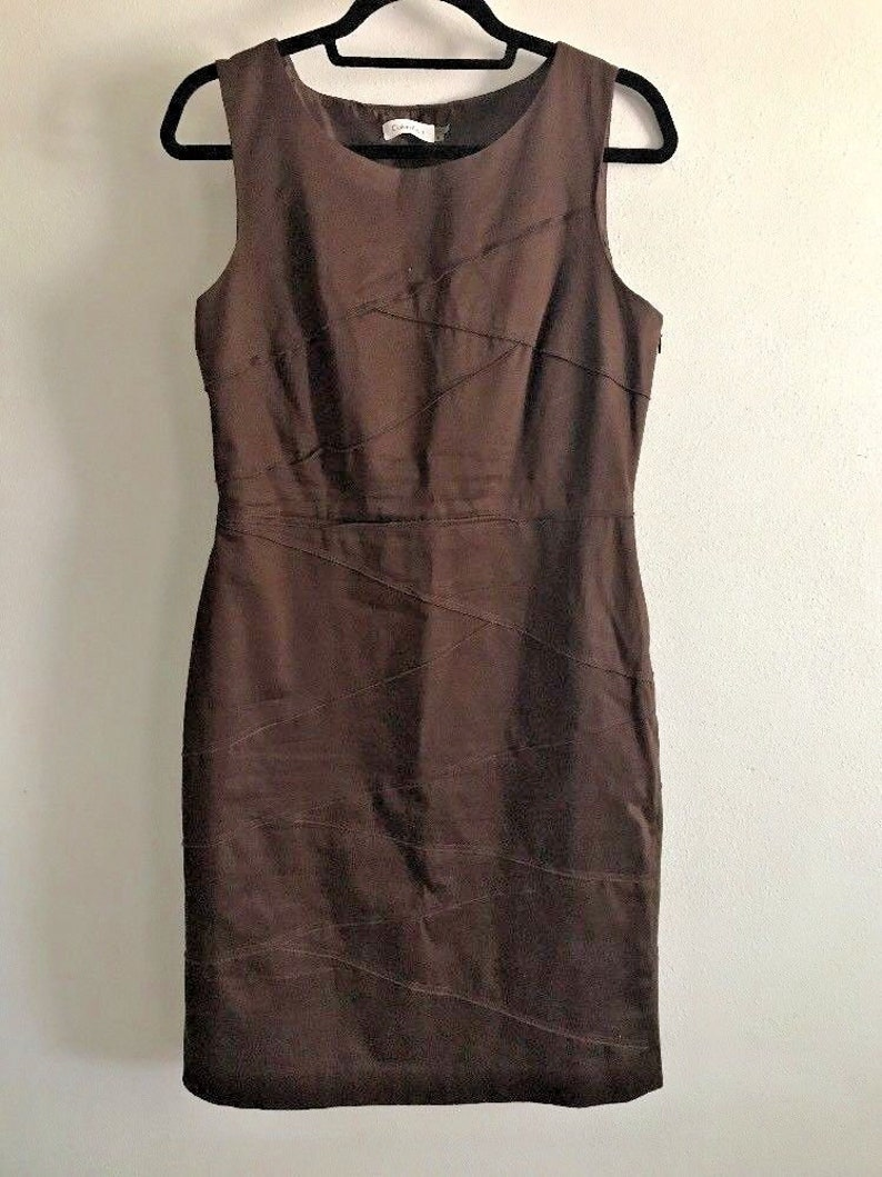 Calvin Klein Dress Womens Size Small Brown Asymmetrical Summer