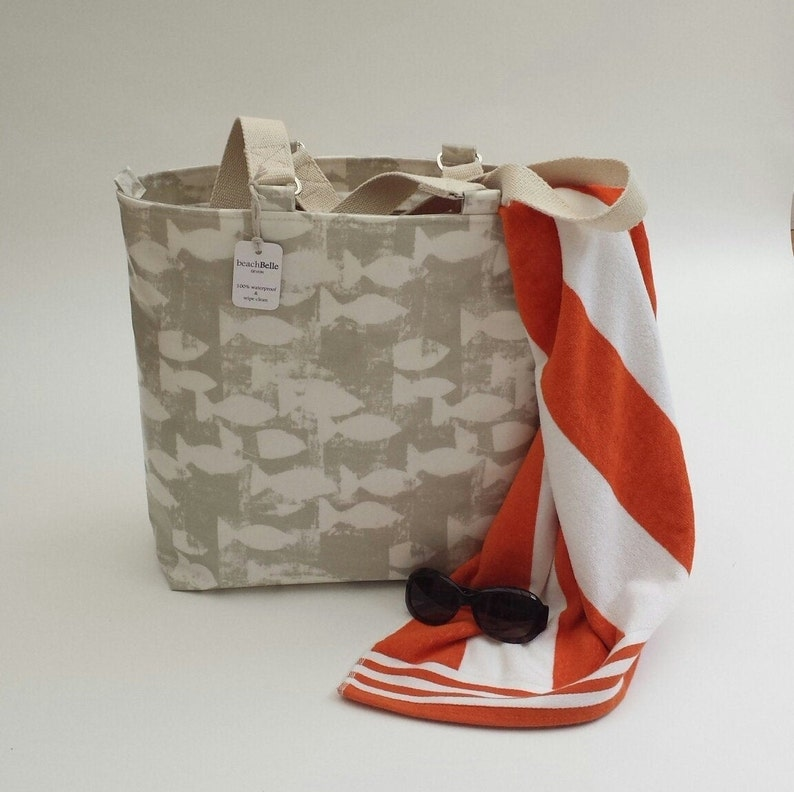 Beach bag with zip Zip top beach bag Made to order Beach bag tote Waterproof beach bag Zipper top beach tote Beach bag with zipper