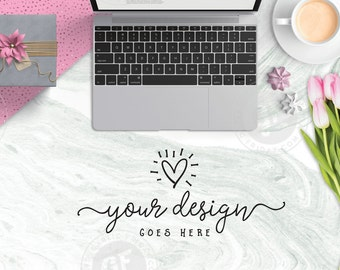 Download Free Styled Stock Photo | Styled Desktop | Pink Tulips Marble Silver Laptop Coffee | Artist Product Mockup | Modern & Feminine GFSP0013 PSD Template