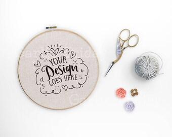 Download Free Embroidery Hoop mockup with PSD | Cross stitch Craft Flatlay Stock Photo | Styled Desktop | Social Media Artist | Modern & Feminine 14-0021 PSD Template