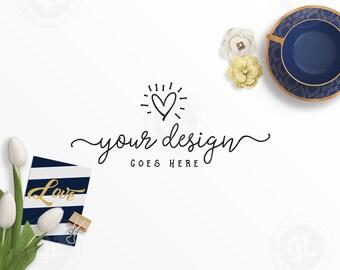 Download Free Navy & Gold Styled Scene Desktop Stock Photo | Teacup Tulips Paper Flowers Arrow | Flatlay Mockup | Modern Feminine Branding 0010-04 PSD Template
