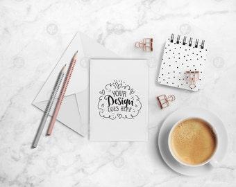 Sweet Greeting Card Mockup   Minimilast Styled Stock Photo   Styled Desktop   Blog Social Media Artist   Modern & Feminine 26-0009