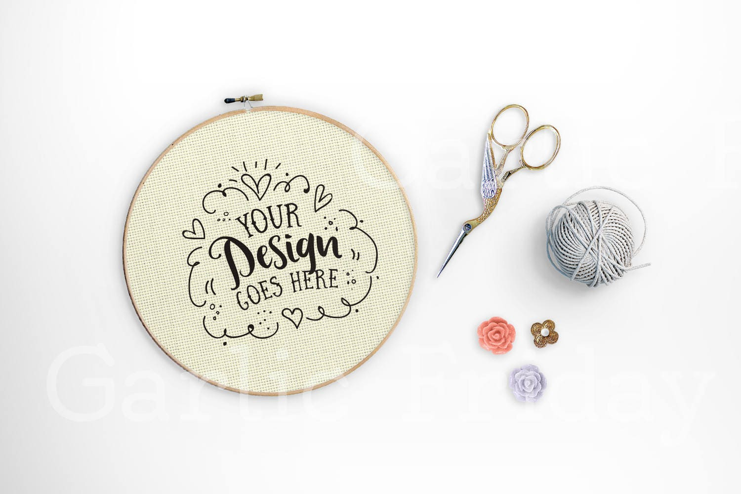 Embroidery Hoop Mockup With Psd Cross Stitch Craft Flatlay Etsy