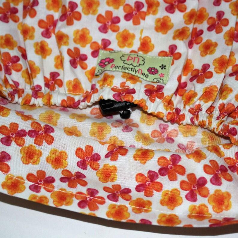 European hats Euro Surgical Caps Organge floral Womens Euro Surgical hat Small Orange Floral on Cream Women\u2019s European Scrub hats