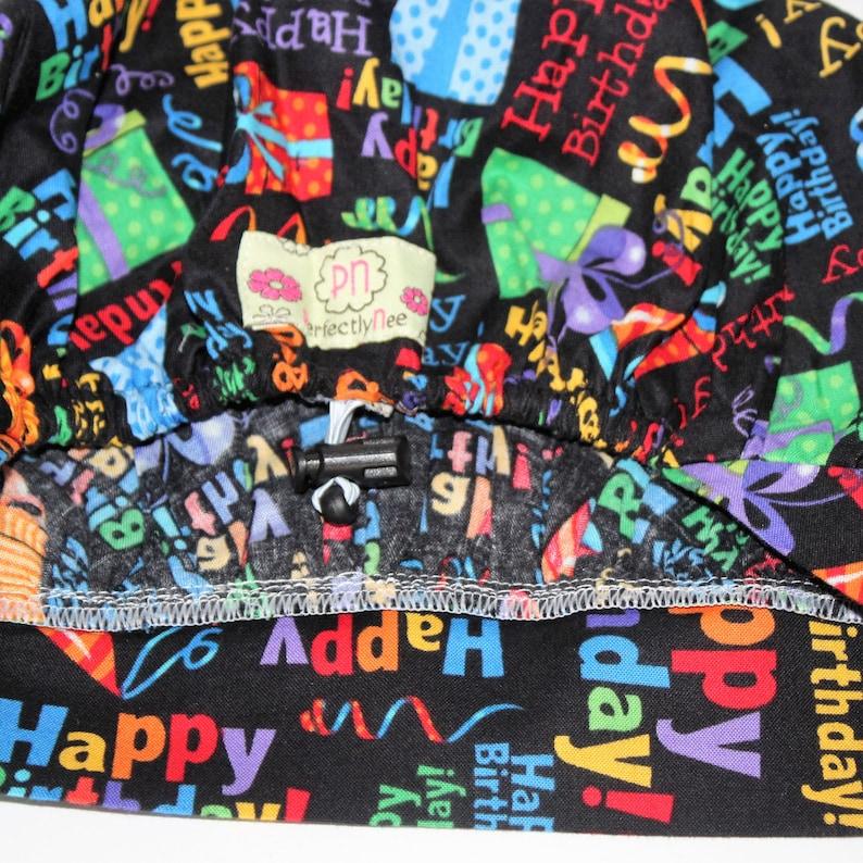 Bouffant hats OR hat Happy Birthday Women\u2019s Bouffant Surgical Scrub Hat Scrub Cap colorful happy birthday Surgical Scrub Hat