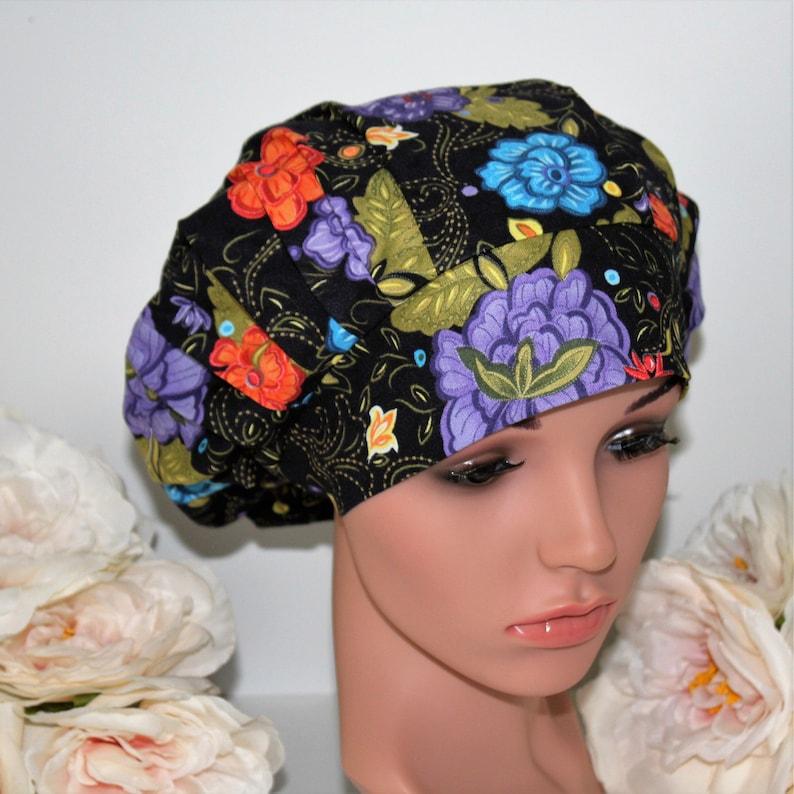 Bouffant scrub hats OR hat Multiple colors flowers on black Women\u2019s Bouffant Surgical Scrub Hat Surgical Hat Surgical Scrub Hat