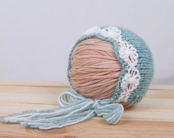 Ready To Ship - Newborn Flower Bonnet - Photo prop