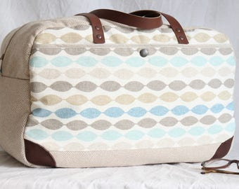 Travel bag, weekender, travel bag fabric, hand-worked, graphic