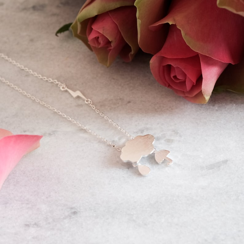 Dainty Cloud Sterling Silver Necklace Umbrella Thunderbolt Raindrop Weather Necklace 925 Silver Hypoallergenic 100/% Sterling Silver