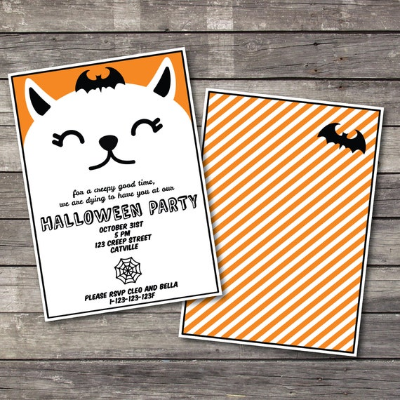 halloween printable invite kids halloween invitation etsy