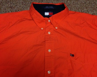 Vintage Tommy Hilfiger Blaze Orange Flag Button Up Shirt size XXL