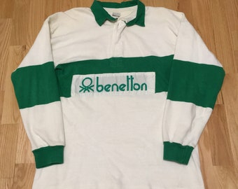 e3c7db4d Vintage United Colors of Benetton White Green Spell Out Long Sleeve Rugby  Polo Shirt size XL
