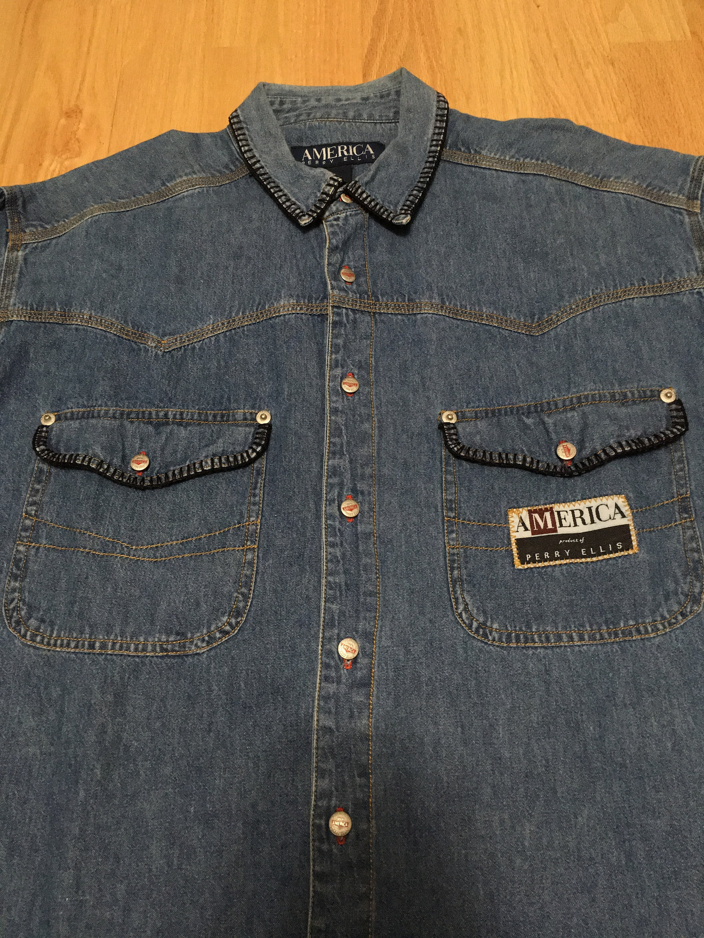 c9464aed3f Vintage America Perry Ellis Patch Spell Out Denim Long Sleeve