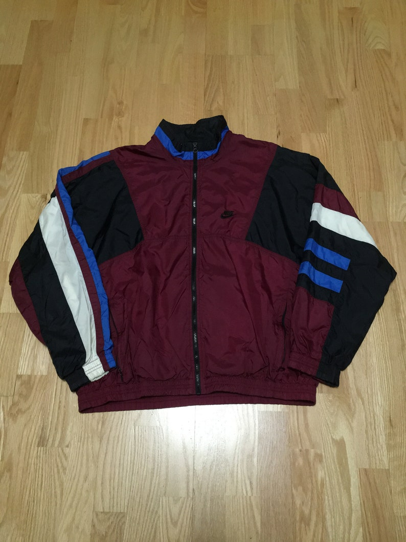 2a6aa8fae37c Vintage Nike Maroon Black Blue White Color Block Lined Full