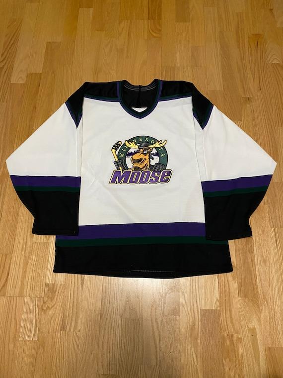 Vintage Bauer Minnesota Moose White Hockey Jersey
