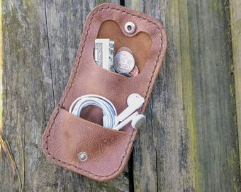 Leather coin pouch. Belt pouch. Minimalist Coin wallet. Leather belt wallet. Coin purse. Unique gift. Gray or brown wallets.