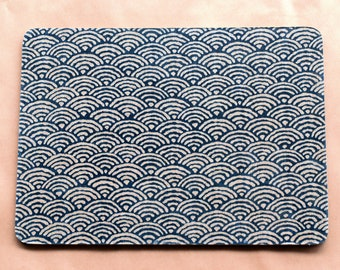 Traditional Japanese seigaiha wave pattern linen indigo eco mouse mat pad zerowaste computer sustainable natural limited edition design PC