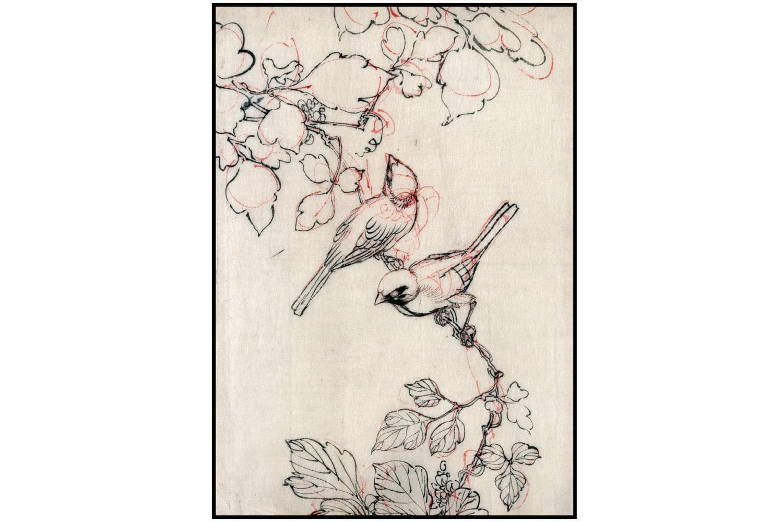 Pájaros de tinta dibujo aves flores impresión minimalista | Etsy