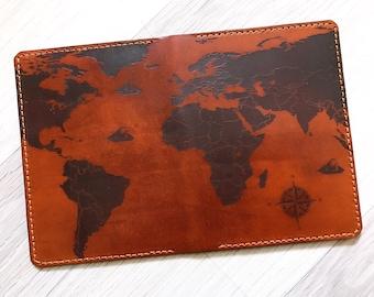 Vintage world map Leather Passport Wallet/Passport Cover/Passport Holder/personalized case/travel gifts/world map wallet/custom holder