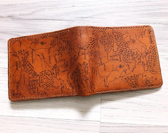 Game of thrones map Personalized leather handmade Men wallet Westeros map customized boyfriend gifts birthday anniversary GOT collection