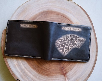 House Stark Game of Thrones leather handmade men's wallet, House logo wallet for men, personalized gift for him 2020