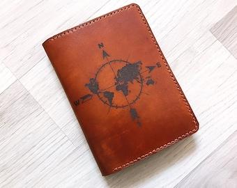 World map compass/Leather Passport Wallet/Passport Cover/Passport Holder/Custom passport holder/travel gifts/custom leather passport