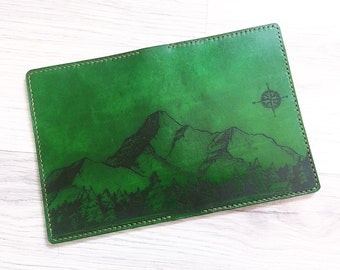 Mountain men Leather Passport Wallet/Passport Cover/Passport Holder/Personalized case cover/travel accessories/custom gifts for traveller
