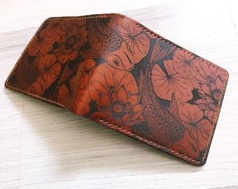 Koi Fish personalized men's wallet, custom gift for men, animal wallet for him, anniversary gift, Father's Day gift idea for him 2021