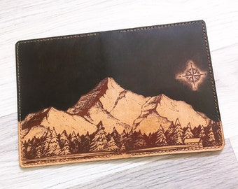 Night sky mountain men Leather Passport Wallet/Passport Cover/Passport Holder/Personalized case cover/travel accessories/gifts for traveller
