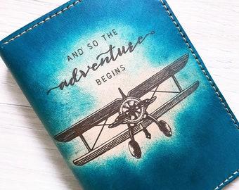 Adventure begins/Leather Passport Wallet/Passport Cover/Passport Holder/Custom passport holder/travel gifts/custom leather passport/airplane