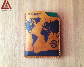 World - Leather Passport Wallet/Passport Cover/Passport Holder/Customized passport holder/travel accessories/Birthday gift/Boyfriend gifts