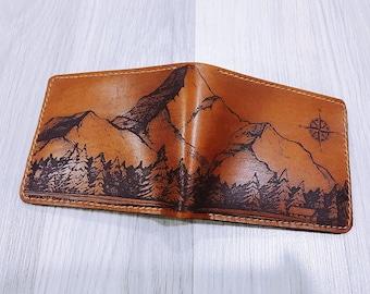 Personalized leather handmade men's wallet, mountain landscape pattern men's gift, present for him, xmas men gift idea, RFID blocking wallet