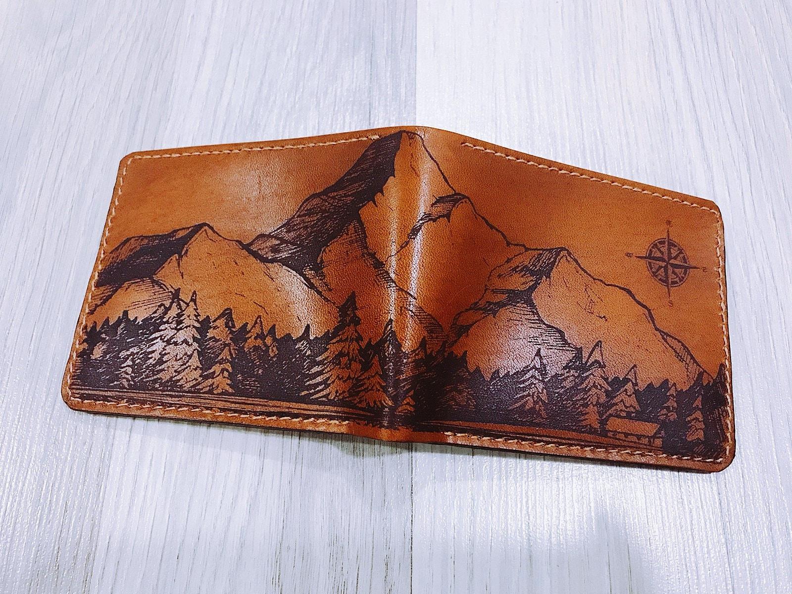 Mountain wallet, personalize leather men wallet, men custom leather wallet, wallet for men, men chrismast gift, boyfriend husband wallet