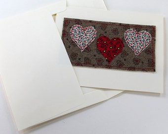 Romance Three Hearts Fabric Card