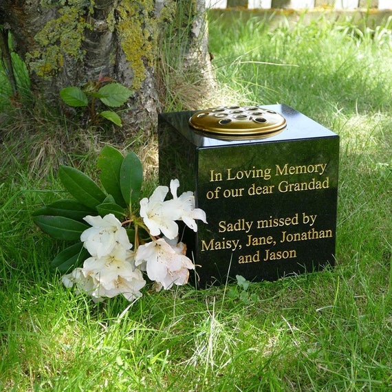 Granite Memorial Vase Crematorium Vase Memorial Vase Uk Etsy