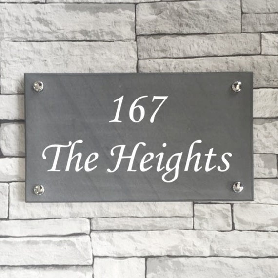 Slate name plate address number House Name for your home