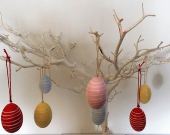 15 Assorted   Hanging Wooden Easter Eggs - Hand Painted and Hand Carved