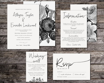 Minimal Botanical Wedding Invitation Suite Minimal Wedding Etsy