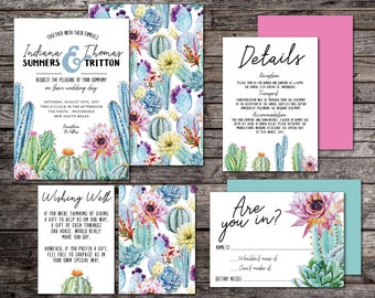 Wedding invitation kits etsy cactus wedding invitation suite fiesta wedding invitation suite printable wedding invitation suite diy affordable cacti desert flower solutioingenieria Image collections