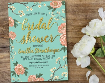 Peony bridal shower invitation, bridal shower invitation, mint and peach, mint and coral, mint, peach, coral, gold, cherry blossom (Emillia)
