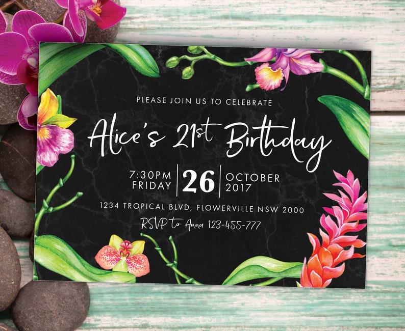 Noir /& or fleurs 60th personnalisé fête d/'anniversaire invitations