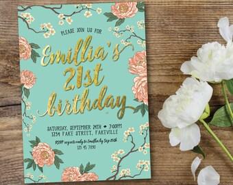Peony birthday invitation, birthday invitation, mint and peach, mint and coral, mint, peach, coral, gold, cherry blossom, birthday (Emillia)