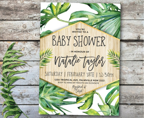 tropical baby shower invitation tropical invitation tropical etsy