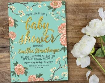 Peony baby shower invitation, baby shower invitation, mint and peach, mint and coral, mint, peach, coral, gold, cherry blossom (Emillia)