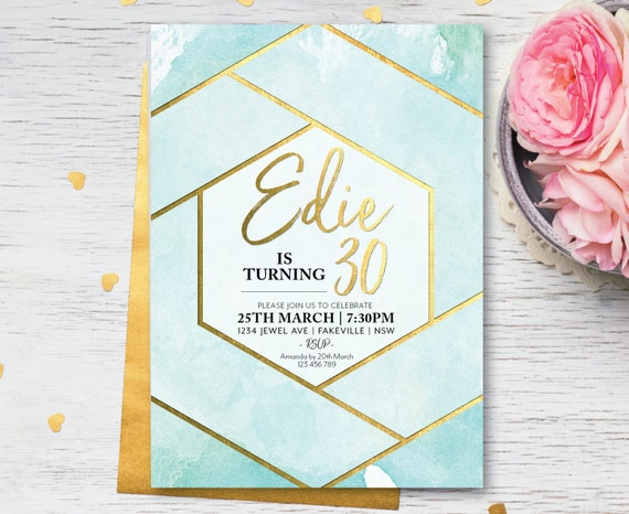 Blue watercolor geometric birthday invitation, watercolour geometric birthday, geometric birthday invite, aqua, turquoise, cerulean (Edie)