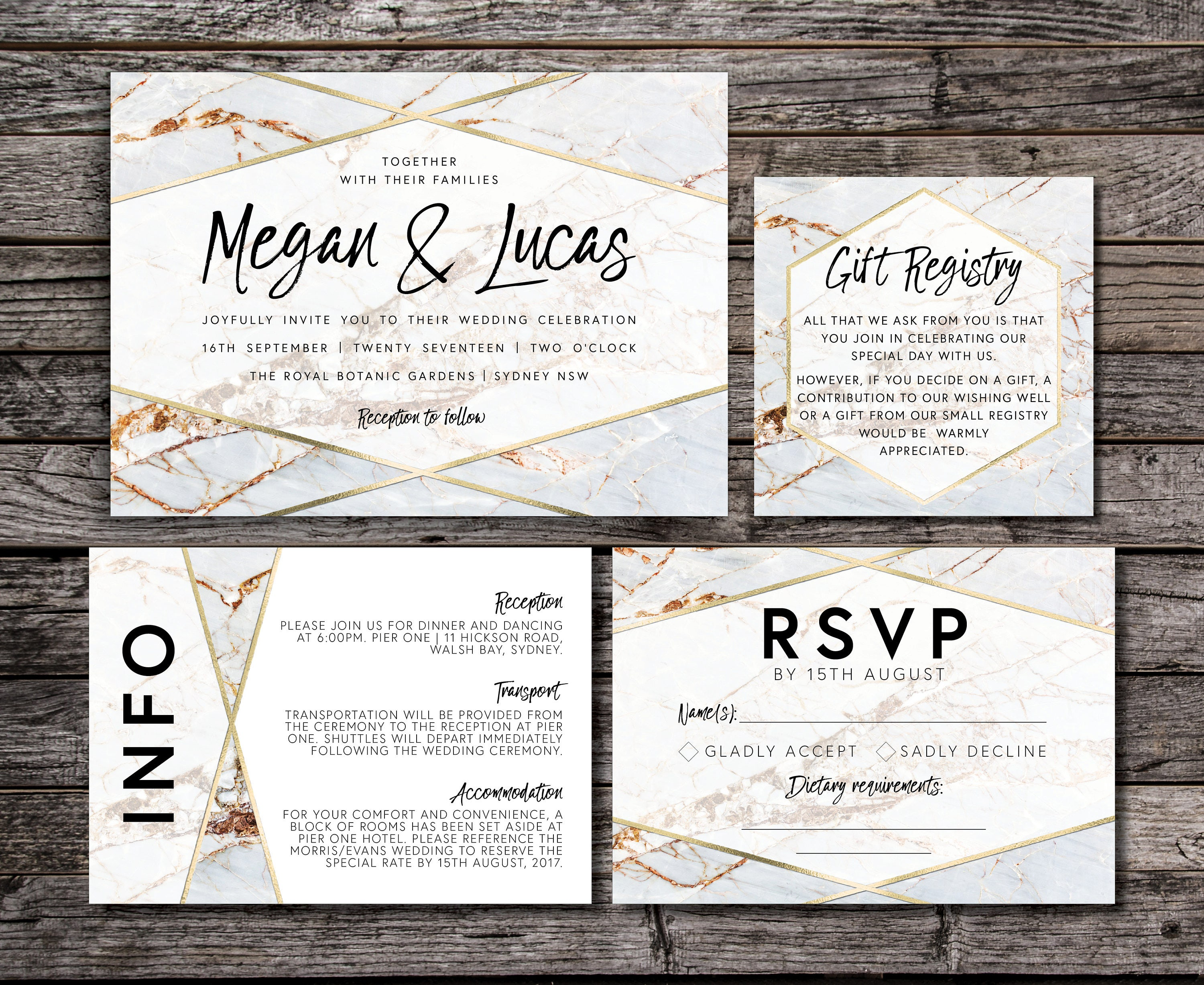 Geometric Marble Wedding Invitation Suite Luxe Gold White Etsy