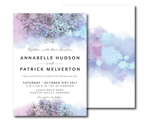 Watercolour Floral Bouquet Wedding Invitation Peony Roses Foliage