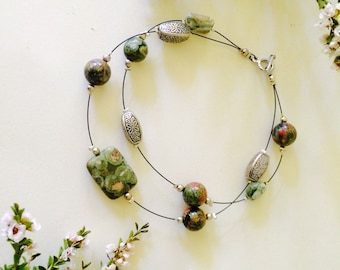 Rainforest Jasper and Olive Agate beaded bracelet - handcrafted beaded jewellery - Made in Australia