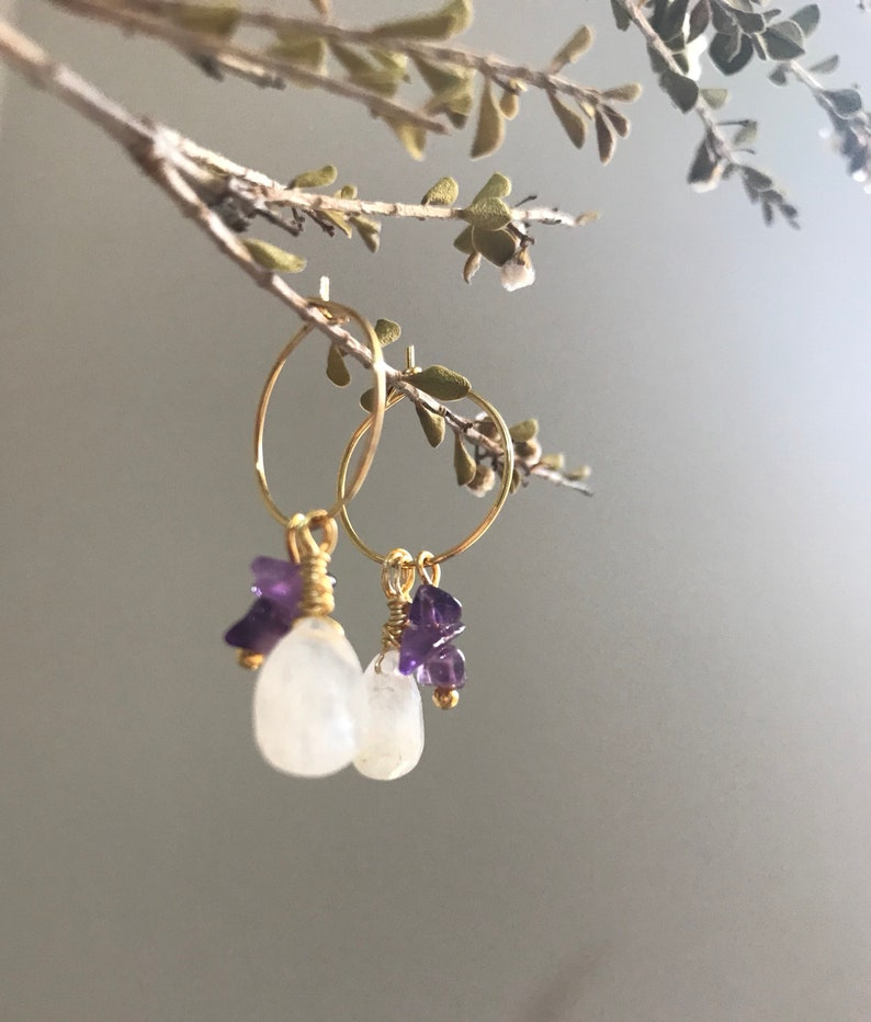 24k gold plated Nickel Free and tarnish resistant Moonstone and amethyst chips Boho Chic earrings